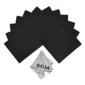 (13 Piece Set) Ultra Fine Goja Microfiber Cleaning Cloths for LCD Screens, DSLR Camera Lens, Glasses and other delicate surfaces (12 Black, 1 Grey / Premium 200mg) - Removes fingerprints and oil with just a swipe! - Perfect for Tablets (iPad, Xoom, Galaxy Tab, Kindle, Nook), Smart Phones (iPhone, HTC, Droid, Android, Blackberry), Laptop and LCD TV screens