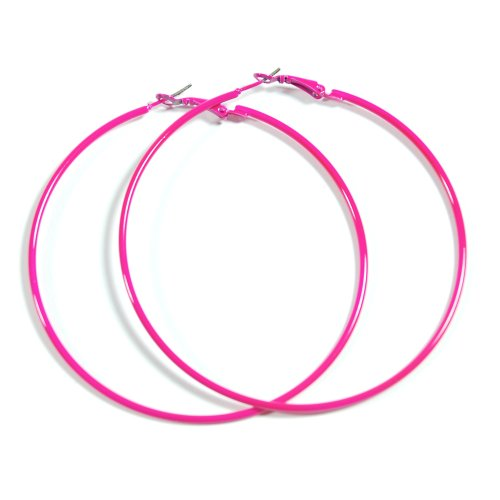 NEON HOT PINK Hoop Earrings 50mm Circle Size - Bright