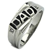 Stainless Steel and Black Resin DAD CZ Ring (Sizes 9-12)