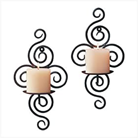 1 Pair 2 Wrought Iron Wall Candle Holders Sconce