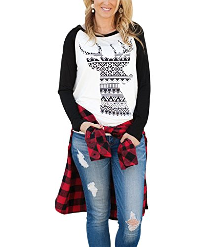 Womens Long Sleeve Printed Pullover Casual Tees T-Shirt White XL