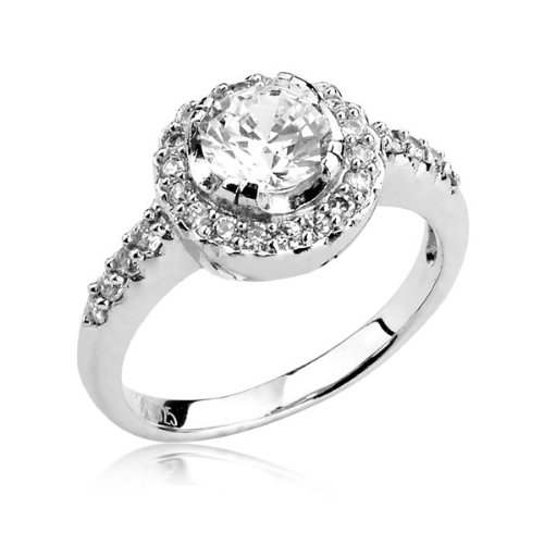 Sterling Silver Ring Round Cubic Zirconia CZ Ring 1.4 ct.tw - Nickel Free Engagement Wedding Ring (Available in Sizes 6 to 8) [Size 6]