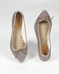 Ballet-Style Espadrille with Pointed Toe in Metallic Canvas