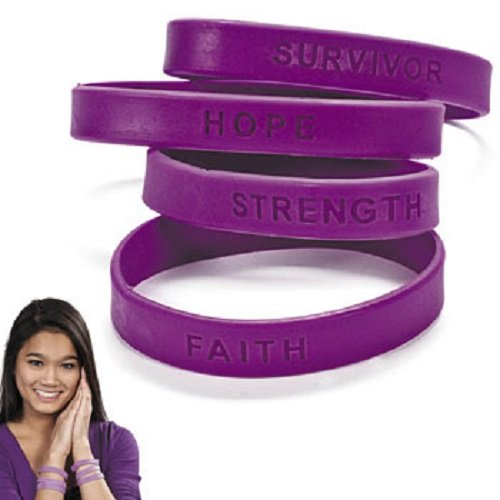 Lot of 24 Pancreatic Cancer Support Silicone Purple Bracelets With Sayings