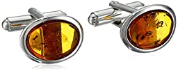 Rhodium Plated Sterling Silver Honey Amber Oval Men\'s Cufflinks