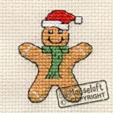 Mouseloft Mini Cross Stitch Card Kit - Gingerbread Man, Christmas Collection