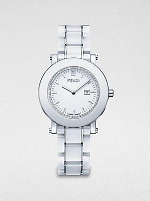 F642140D Watch Diamond Ladies - White Dial Ceramic Case Quartz Movement