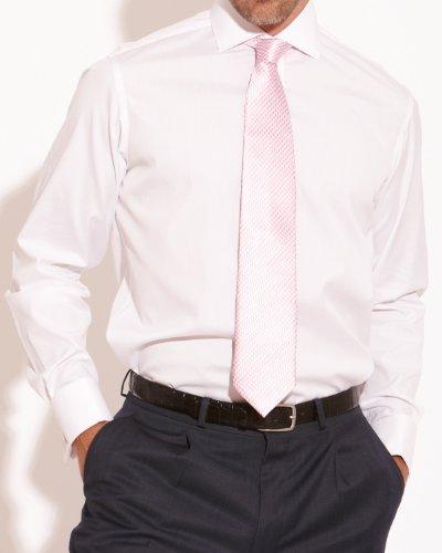 Savile Row Mens Pink White Fine Stripe Slim Fit Formal Shirt Collar Size16.5