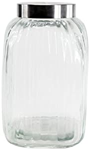 Housewares International Ribbed Square Glass Storage Jar with Stainless Steel Lid,... by ) Housewares International, Inc