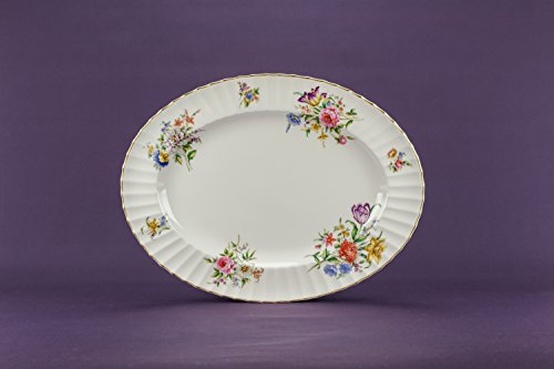 Bone China Vintage Floral Oval PLATTER Dinner Cake Retro Beautiful Dish Royal Worcester English Late 20th Century (Halloween In Worcester)