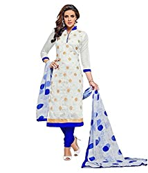 Mayur Women's Cotton Unstitched Dress Material (162034898307_White_Large)
