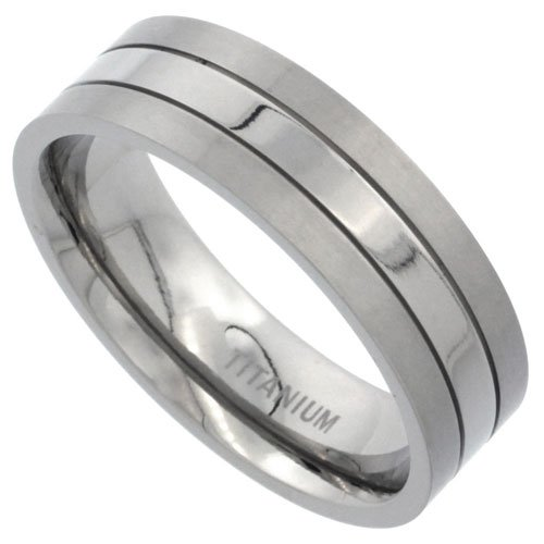 Titanium 7mm Flat Wedding Band Ring Stripe Center Comfort-fit, size 11.5