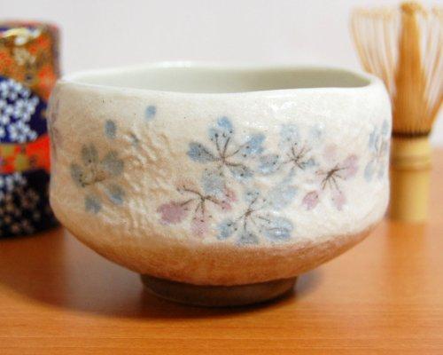 Buy Discount Ryu Mei Ippuku Shino Tataki Sakura Chawan (Matcha Bowl), Blue