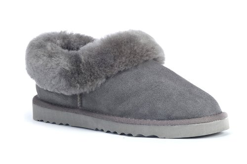 Cheap Sheep Touch Women's BALM Twin-Faced Australian Sheepskin Slippers Closed-Back Grey (B006ZTU9X8)