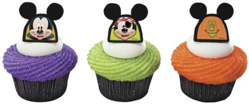 Official Crispie Sweets Cupcake Topper KIT - Halloween Mickey Mouse Dress-Up - w/ Dusting Sugar Sampler & Bonus Card - 24 Rings - Eligible for Amazon Prime!