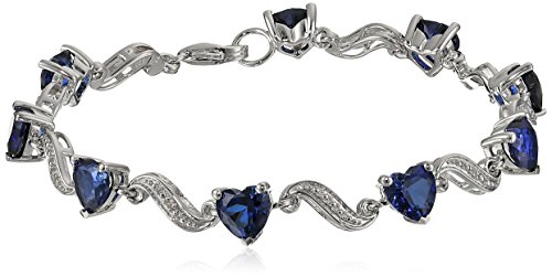 """Sterling Silver Created Blue Sapphire Heart and Diamond Wave Bracelet, 7.25"""" (0.02 cttw, I-J Color, I2-I3 Clarity)"""