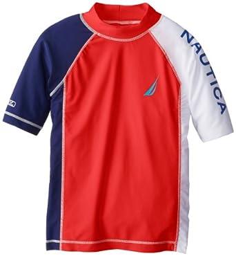 Nautica Big Boys' Rashguard Swim Shirt, Bright Orange, Medium