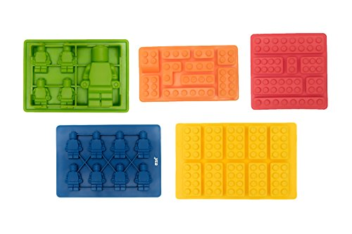 Silicone Candy Mold Ice Cube Tray for Lego Chocolate Gummies Crayon Soap - Set of 5