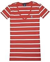 Ralph Lauren Sport Women Striped V-neck Pony Logo T-shirt