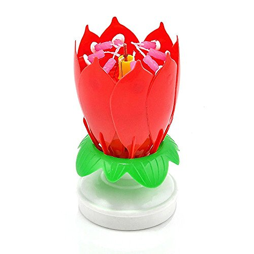 Bbshop 3 Pack Red Romantic Happy Birthday Music Play Lotus Candle Magic Musical Candle Flower Special For Birthday (3x Red)