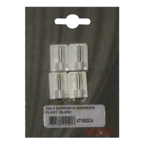 Crochets adhésifs blancs pour tringle à rideau x4