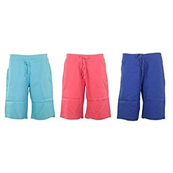 Ladies Summer Knee Length Linen Shorts Womens Elasticated ...