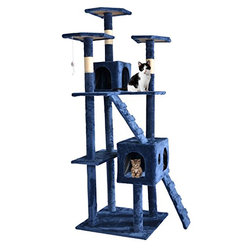 BestPet 9073 73-Inch Cat Tree Scratcher Play House Condo Furniture Toy Bed Post, Navy Blue
