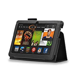 MOFI Black Leather Flip Cover Stand Book Case with Stand for Kindle fire HDX 7 (Auto sleep and wake Feature) - Black