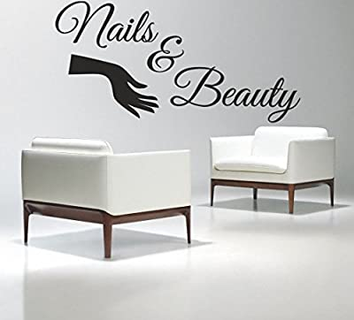 Boodecal Large Bar Collage Salon Decals Nails & Beauty Hair Salon Slogan Varnish Polish Manicure Nail Quotes Wall Decals Letterings Vinyl Sayings Stickers Shop Window Decorations 39*20 Inches