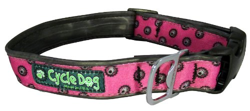 Cycle Dog Bottle Opener Recycled Dog Collar, Pink Icon, Medium