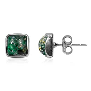 Blue Green Amber Sterling Silver Square Contemporary Amazing Stud Earrings