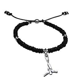 Natural SportBEAD Adjustable Bracelet - Crossed Hockey Sticks Charm-Black