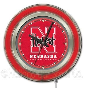 NCAA Nebraska Cornhuskers Double Neon Ring 15-Inch Diameter Logo Clock by Holland Bar Stool Company