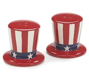 Patriotic Uncle Sam Hats USA Flag Salt and Pepper Shakers by Burton & Burton