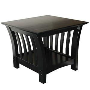 American Furniture Alliance Florenzia End Table, Black Lacquer