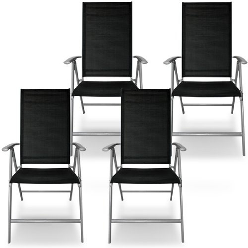 jago alst02 gartenstuhl 4er set aluminium hellgrau klappbar 55 x 67 x 110 cm b x t x h. Black Bedroom Furniture Sets. Home Design Ideas