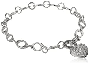 "Sterling Silver Pave Simulated Diamond Heart Bracelet, 7.25"" from Amazon Curated Collection"