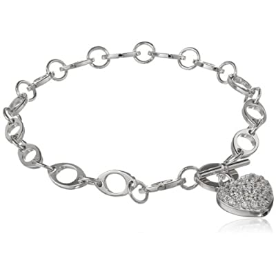 "Sterling Silver Pave Simulated Diamond Heart Bracelet, 7.25"": Jewelry"