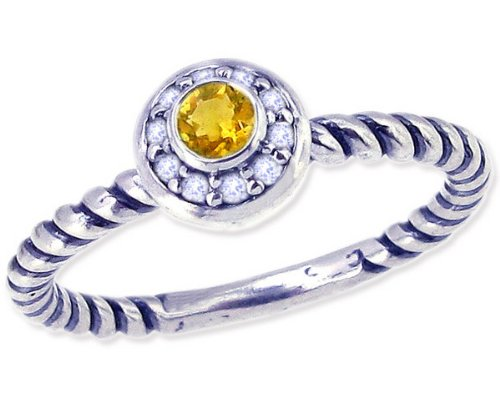 Twisted Sterling Silver Stackable Ring with Round Genuine Gem and Diamond-Citrine-in full,half,quarter sizes from 4 to 12_11.5