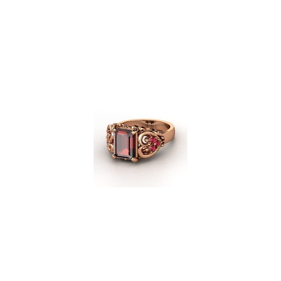 Ring, Emerald Cut Red Garnet 14K Rose Gold Ring with Ruby Jewelry