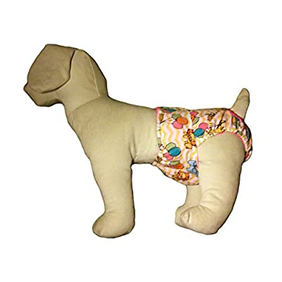Barkerwear Dog Diaper - Happy Animals and Balloon Washable Cover-up / Diaper for Incontinence, Housetraining and Dogs in Heat