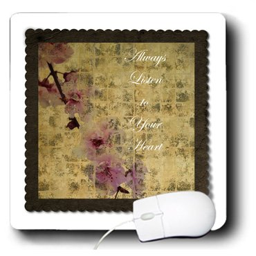 3dRose LLC 8 x 8 x 0.25 Inches Mouse Pad, Listen To Your Heart inspired Cherry Blossom Floral (mp_63428_1)