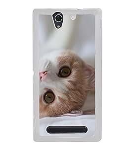 Printvisa Cute Cat 2D Hard Polycarbonate Designer Back Case Cover For Sony Xperia C3 Dual :: Sony Xperia C3 Dual D2502