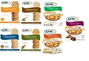Glutino Gluten Free Crackers and Bagel Chips Variety 7 Pack
