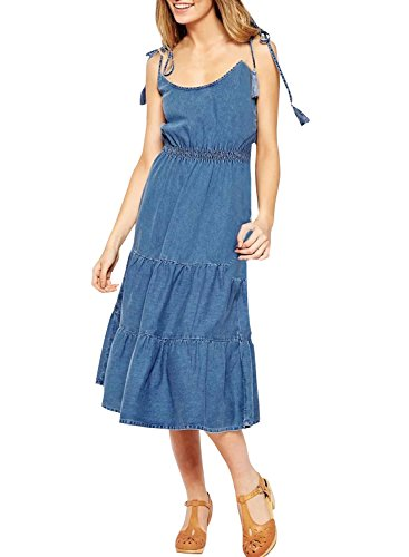 achicgirl-womens-self-tie-strap-elastic-waist-denim-trapeze-dress-deep-blue-l