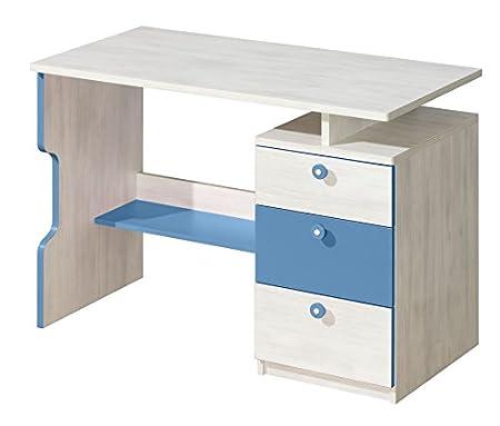 Kinderzimmer - Schreibtisch Justus 07, Farbe: Kiefer Blau - Abmessungen: 79 x 110 x 55 cm (H x B x T)