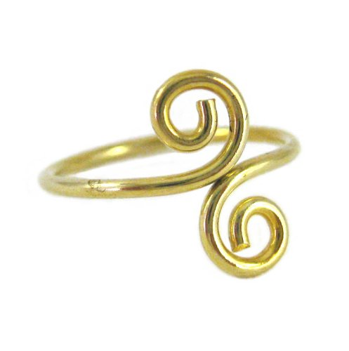 Gold Plated On Sterling Silver S-Swirl Adjustable Thumb Ring