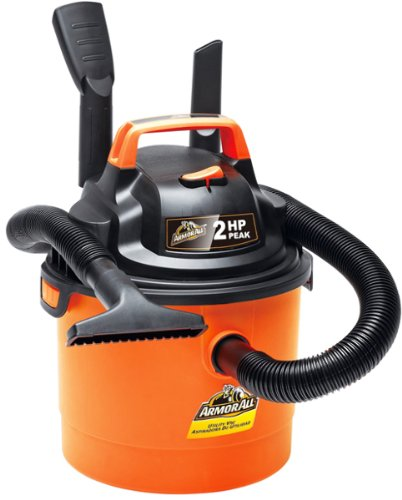 Armor All - 2.5 Gallon 2 HP 1-1/4 Hose, Portable Wall Mountable Wet/Dry Utility Vac (VOM205P0901) (Color: Orange)