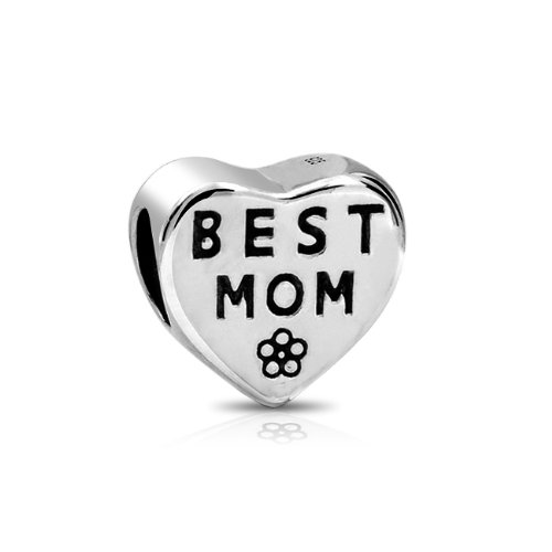 Show mom your love and tell her how much you care.  A phenomenal addition to a Pandora compatible beads bracelet, this sterling silver mom bead is a chic and beautiful piece of heart beads jewelry.  P