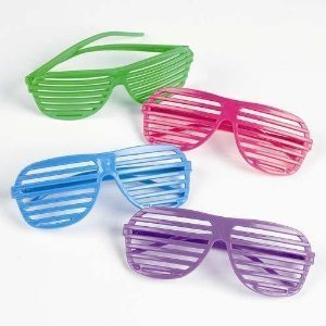 12 Pairs of 80's Shutter Shade Sunglasses - Party Favors